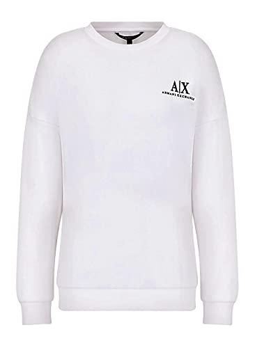 Armani Exchange Long Sleeve Micro Icon Logo Crew Neck French Terry Sweatshirt Sudadera, Color Blanco, XS para Mujer