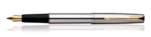 Parker Frontier Stainless Steel Gold Trim Fountain Pen Fine Nib