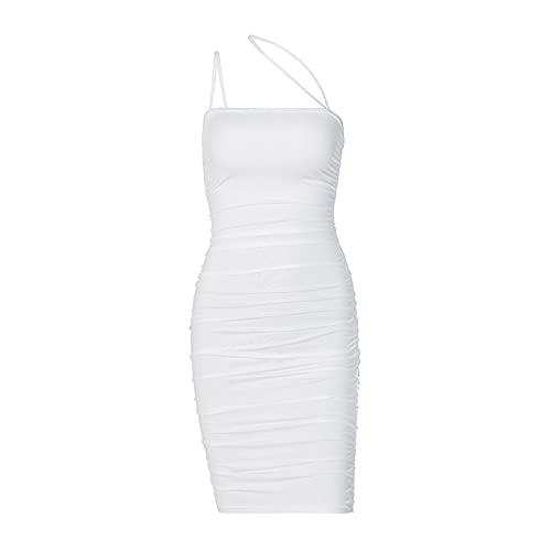 ChouZZ Vestido de mujer de color sólido Slinky Sling Straps Bodycon Sexy Club vestido de fiesta