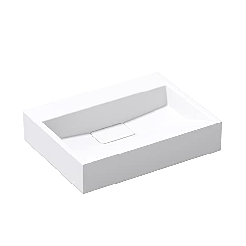 Mai & Mai Lavabo Blanco 50x38x13cm Lavabo Rectangular sin Orificio para Grifo Lavabo sobre Encimera Lavabo Colgante Col19-500OA