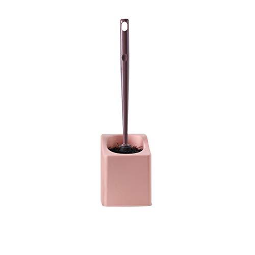 NYKK Escobilla WC Cepillo de Inodoro montado con la manija Larga Limpieza Integral Conjunto de Cepillo de Limpieza de baño (Rosa/Azul Oscuro/Azul Claro) Escobillas de Baño (Color : Pink)