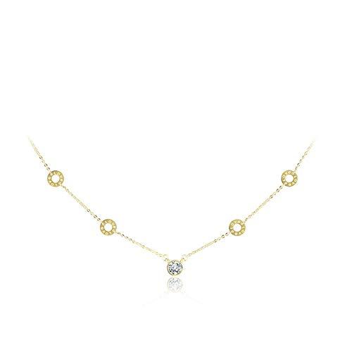 General Purpose Círculos clásicos de Acero Inoxidable Gargantillas de Cristal Neckalce Color Dorado Encantadores Colgantes de Boda para Mujeres