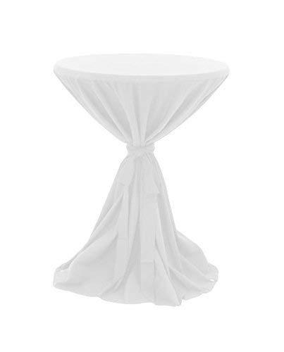 Dynamic24 Premium Gastro Stehtisch Husse Ø 80-90cm Tischhusse Bistrotisch Tisch Überwurf Tischdecke weiß