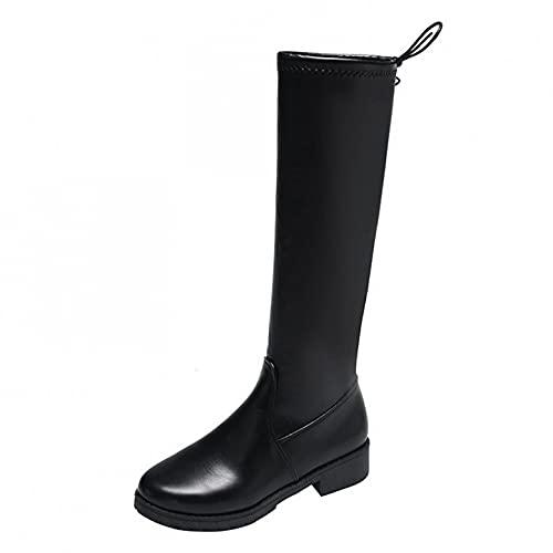 Padaleks Botas para mujer de moda al aire libre, caballero occidental de equitación negro de cuero sin cordones hasta la rodilla botas de vestir