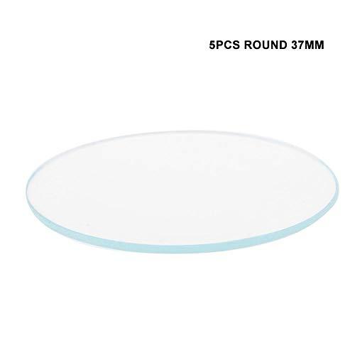 5 STKS 37/38/39MM Ronde Flat Horloge Crystal Lens Glas Vervangende Onderdelen voor Watchmaker Reparatie 37mm