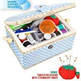 Sewkit Large Sewing Basket with Accessories Sewing Kit Storage and Organizer with Complete Sewing Tools - Wooden Sewing Box with Removable Tray and Tomato Pincushion for Sewing Mending - Blue computerized sewing machines Mar, 2021