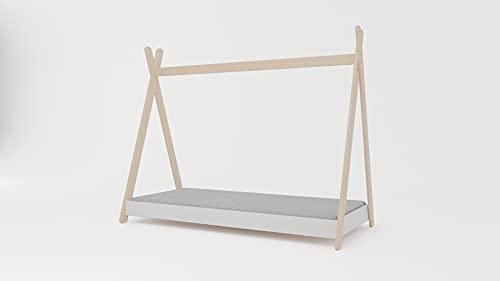 Meblex Cama tipo tipi para niños en madera natural, para niñas y niños, tamaño 160 x 80 cm, con colchón, marco blanco Todler