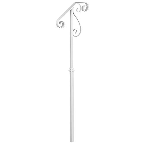 VEVOR Handrails for Outdoor Steps, Fit 1 or 2 Steps Outdoor Stair Railing, Single Post Wrought Iron Handrail Flower Design, White Porch Railings for Concrete Steps or Wooden Stairs Without Base