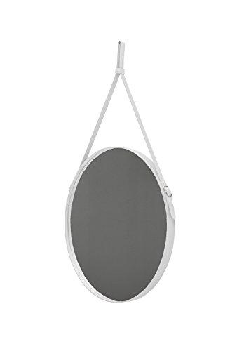 Effigies 70: Miroir Mural Rond, Cadre et Ceinture Totalement en Cuir Blanc, Miroir de beauté, conçu par Limac Design®, 100% Made in Italy.