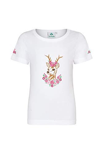 Mädchen T-Shirt mit Glitzer-Steinen, REH- und Blumenstickereien Pink/Weiss Größe 110