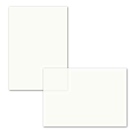50x ungefalztes einfaches Einlege-Papier für DIN A6 Karten - transparent-weiß - 103 x 146 mm - ideal zum Bedrucken mit Tinte und Laser - hochwertig mattes Papier von GUSTAV NEUSER®