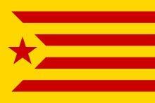 Q&J Bandera de Catalunya Estelada con Estrella roja - Medidas 150 x 90 cm. - 100% Polyester para Interior y Exterior
