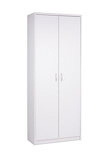AVANTI TRENDSTORE - Keran - Armadio Multiuso in Legno Laminato, con 2 x Ante a Battente e 4 x Ripiani Interni. Dimensioni Lap 74x188x35 cm (Bianco)