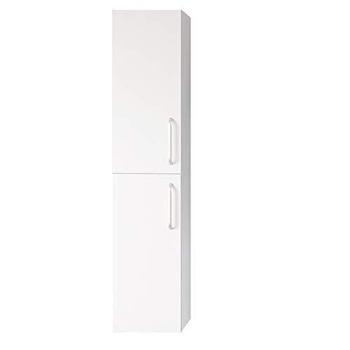 duschhaus2012 Hochschrank 142×30×26,8 cm fünf Schichte Badezimmer Schrank Hängeschrank Softclose Weiß