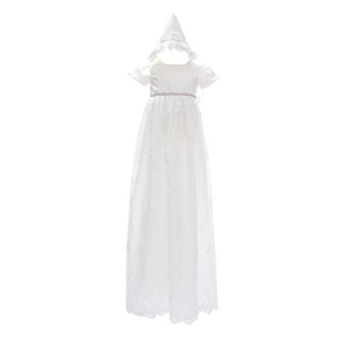 Zhhlinyuan Bébé Filles Robe de Princesse Fleur Dentelle Robe de Fête d'anniversaire - 0-24 Mois Robe de Baptême Formelles Robe de Pageant Mariage