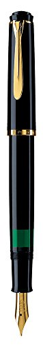 Pelikan 984104 - Penna Stilografica Linea M200 Classic, Nero, Dettagli Oro 24K, Pennino in Acciaio Inossidabile, Dimensione F