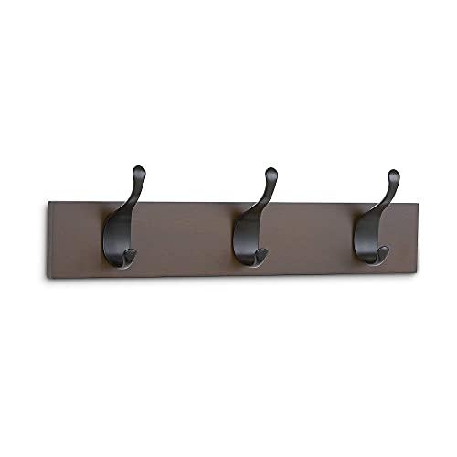 Amazon Basics - Perchero de madera de pared, 3 ganchos modernos 34 cm, Café, 2 unidades