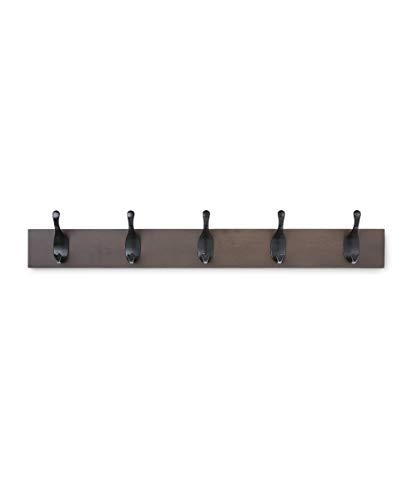 Amazon Basics Wall Mounted Modern Coat Rack 5 Hooks Espresso