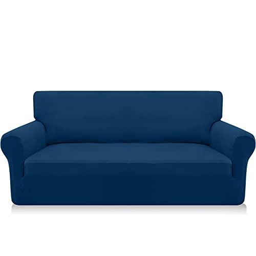 Granbest Funda para sofá de 3 plazas, muy suave, de elastano, para perros y mascotas, con base elástica (3 plazas, color azul oscuro)