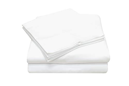 Callista 100% Cotton Sateen Sheet Sets 600 Thread Count -Full Size, Wrinkle-Free, Fade, Stain Resistant, Hypoallergenic -4 Piece -1 Flat Sheet 1 Fitted Sheet and 2 Pillowcase -White