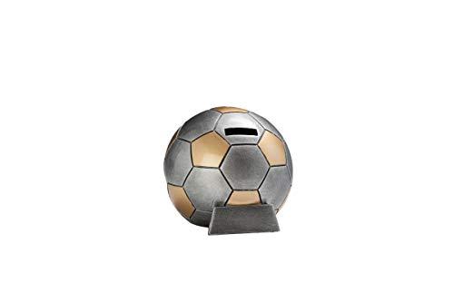 Henecka Fussball-Pokal, Resin-Fußball Spardose, Silber mit Gold, mit Wunschgravur, Größe 13 cm