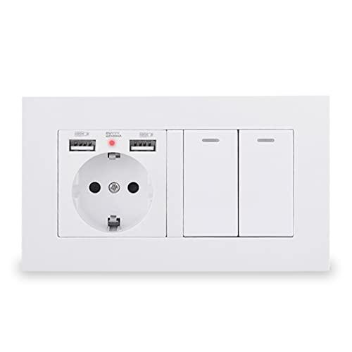 HLY-CASE Enchufe de pared con 2 puertos de carga USB ocultos LED suaves + 2 interruptores de luz de 1 vía, panel de PC con diseño elegante (voltaje clasificado: 110-250 V, tipo: blanco)