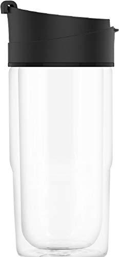 SIGG Nova Black Thermobecher (0.37 L), schadstofffreier und isolierter Kaffeebecher, auslaufsicherer Coffee to go Becher aus hitzebeständigem Glas