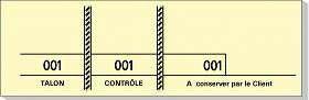 Carnet de 100 tickets 3 souches numerotees 48x150mm jaune