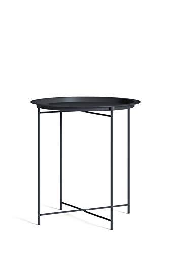 Homexperts Smart - Mesa Auxiliar de Metal, Color Negro, diámetro 47, Altura 50,5 cm