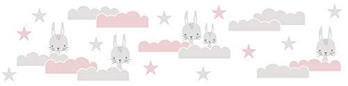 WALLCOVER Cenefa autoadhesiva para habitación de bebé, cielo estrellado, decoración de pared, color rosa, blanco y gris, adhesivo moderno de 5,00 x 0,155 m para habitación de niños y niñas