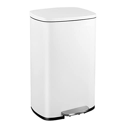 50L Mülleimer Küche Abfalleimer aus Edelstahl Treteimer mit Deckel und Inneneimer Müllbehälter Soft-close geruchsdicht und hygienisch weiß