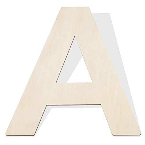 Fuyit Wood Letters A, 12 Inch Tall 1/4 Inch Thick Blank Unfinished Wooden Letter for DIY Crafts, Painting, Wall Arts, Home & Party Decor