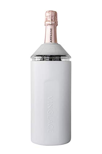 Vinglacé Wine Bottle Insulator | Stainless Steel | Double Walled | Vacuum Insulated | Tritan Plastic Adjustable Top | Keeps Wine & Champagne Cold for Hours | 10' x 11' x 12' | White