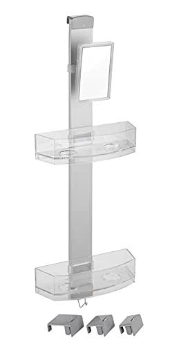 WENKO Duschcaddy Premium mit Antibeschlagspiegel - Badregal, Duschregal mit 2 Ablagen und Haken, Aluminium, 25 x 71 x 10.5 cm, Silber matt