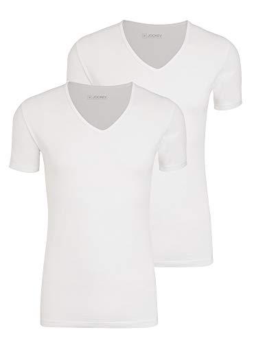 Jockey® Cotton+ V-Neck Shirt 2Pack,M,Weiß