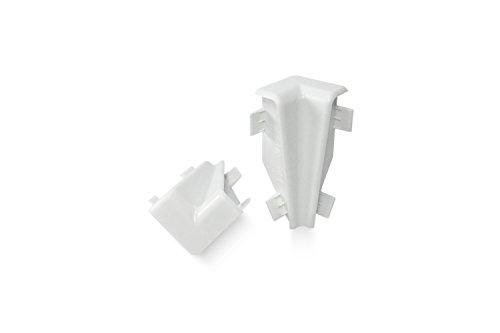 KGM Innenecke für Mega Sockelleiste | Inhalt 2 Stück ✓einfache Fussleisten Montage ✓saubere Ecken | passend für Mega Laminatleiste weiß | Mega Innenecken weiß aus Kunststoff