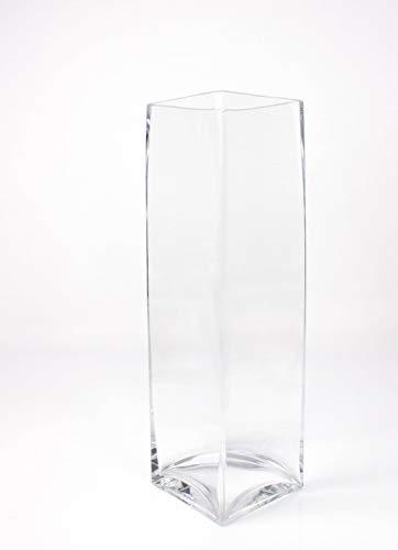 INNA-Glas Kastenvase - Säulenvase Jack aus Glas, klar, 14x14x49cm - Bodenvase - Blumenvase
