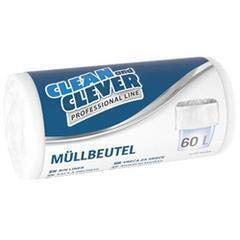 250 Beutel Müllbeutel Professional Line Clean and Clever 60l weiß PRO 73