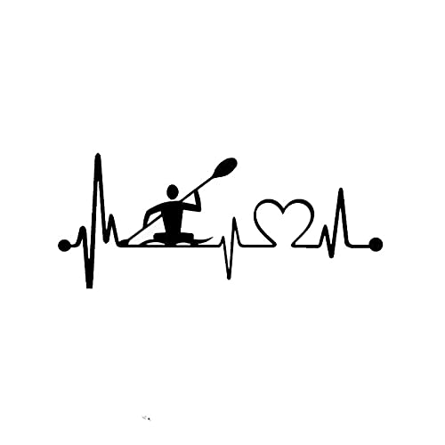 GDYL Pegatinas de Coche interesantes latidos del corazón Lifeline Kayak Pegatina de Coche Accesorios de Vinilo Pegatina de Ventana de Coche PVC 14 * 6 cm para Impermeable