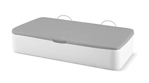 Naturconfort Canapé Abatible Ecopel Blanco Premium Tapizado Apertura Lateral Tapa 3D Gris 80x180cm Envio y Montaje Gratis