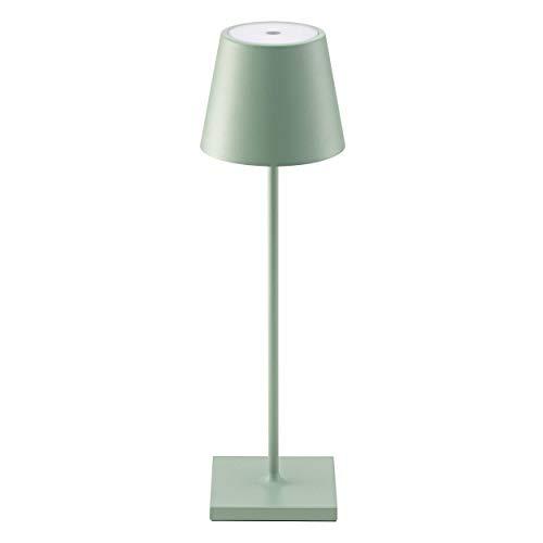 SIGOR Nuindie – Lámpara LED de mesa regulable con batería, para interior y exterior, recargable con Easy-Connect, 24 horas de duración, color verde