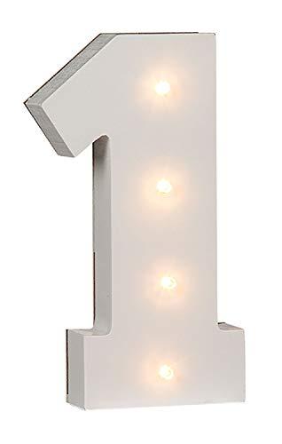 Out of the Blue 57/6101 - Holz Ziffer 1 beleuchtet mit 4 LED Lichtern, batteriebetrieben, ca. 16 cm