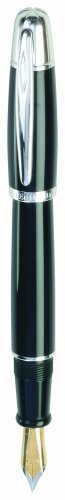 Waterford Pallas Resin Fountain Pen, Bi-Color Gold-Plated Steel Medium Nib and Platinum-Plated Accents, Solid Black (WF 550 BLK) by Waterford