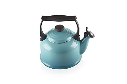 Le Creuset Traditional Stovetop Kettle with Whistle and Max Line, Enamelled Steel, 2.1 L / 2.2 qt, Teal, 40102021700000
