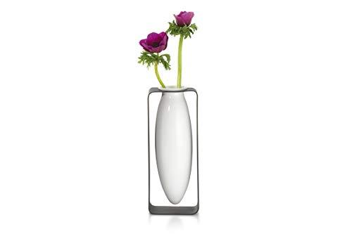 Philippi - Float Vase, hoch - schebende Vase im Metallgestell - für Tupen, Rosen, effektvolle dekorative Vase