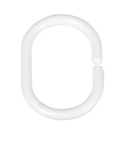 WENKO 19191100 Duschvorhangringe Weiß klein, 12er Set, klein, Kunststoff, 4.5 x 3 cm, Weiß