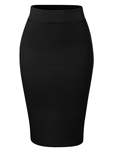 MixMatchy Women's Waist Band Midi Stretchy Ponte Basic Knee Pencil Skirt Black L