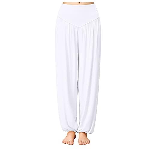 YESMAN Pantalones de yoga para mujer, cintura alta, elásticos, pierna ancha, pantalones de salón, casual, sueltos, modernos y de práctica de danza