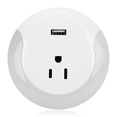 Enchufe inteligente, enchufe inteligente WIFI, luz nocturna USB con función de temporizador para uso doméstico(Transl)