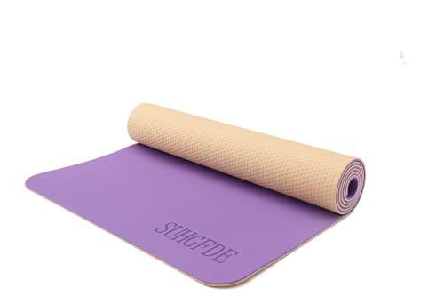SUHGFDE Esterilla de yoga, esterilla de gimnasia antideslizante, con toalla de yoga y bolsa de transporte, 183 x 61 x 0,6 cm (morado/amarillo)